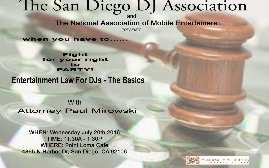 Entertainment Law for DJs with Paul Mirowski